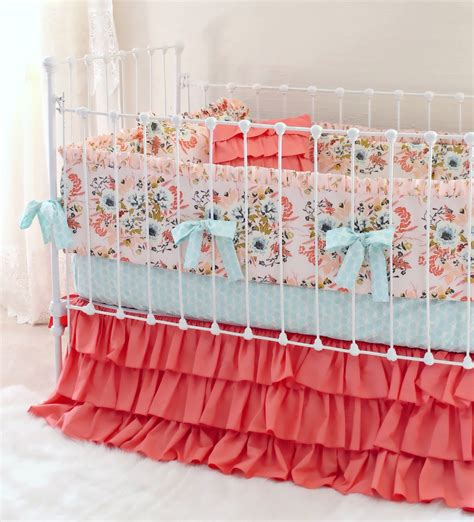 blush baby bedding blush floral baby crib bedding set farmhouse chic nursery lottie da