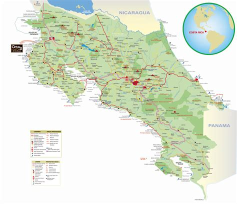 detailed road map of costa rica large detailed road map of costa rica with cities costa