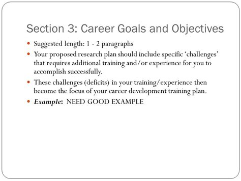 section 3 training writing nih career development k awards ppt video