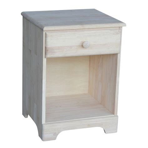 night table ls home depot international concepts 1 drawer unfinished wood nightstand