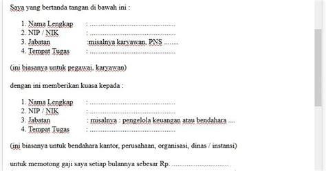 contoh surat kuasa memotong gaji bingkaiguru