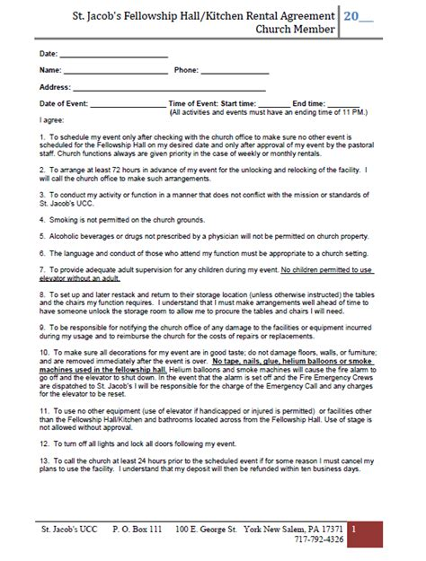 Fellowship Hall Rental Church Rental Contract Template