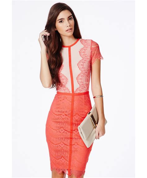 Fashions A30784 Midi Dress Pink missguided satsuko lace panel midi dress in coral in pink coral lyst