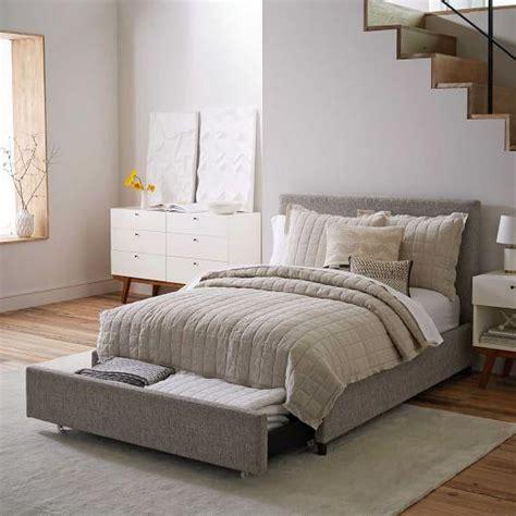 mod grey upholstered bed