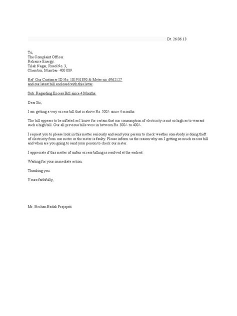 application letter for change of address in electricity bill complaint letter excess electricity charges