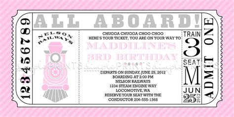 printable train tickets templates girl train ticket printable invitation dimple prints shop