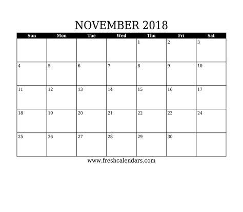 printable calendar 2018 template november 2018 printable calendar templates
