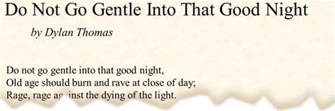 the story s do not go gentle into poem do not go gentle into that by