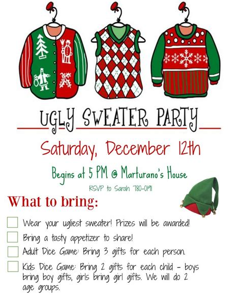 ugly christmas sweater wording for invites long sweater