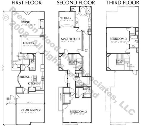 duplex row house floor plans duplex townhome plan c8034 a b