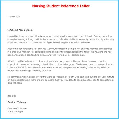 nursing reference recommendation letters 9 sles