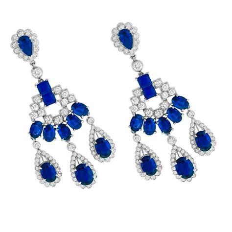 Sapphire Chandelier Earrings Striking Sapphire Gold Chandelier Earrings For Sale At 1stdibs