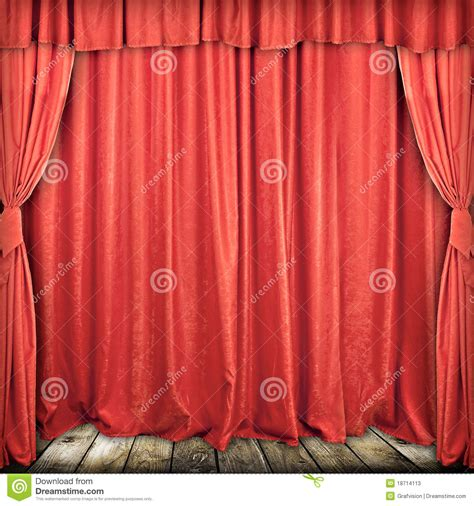 used theatrical drapes red stage curtain stock photos image 18714113
