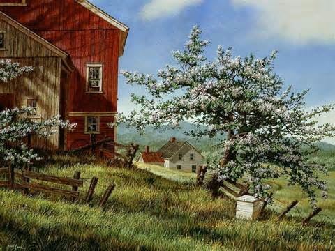 country farm paintings with barn at country barn blossom country farm flowers