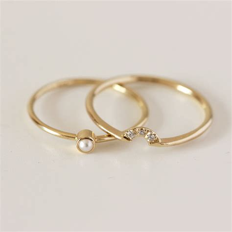 wedding set pearl ring crown ring 14k gold by