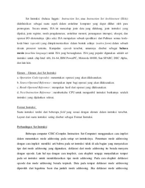 makalah format instruksi arsitektur set instruksi dan cpu