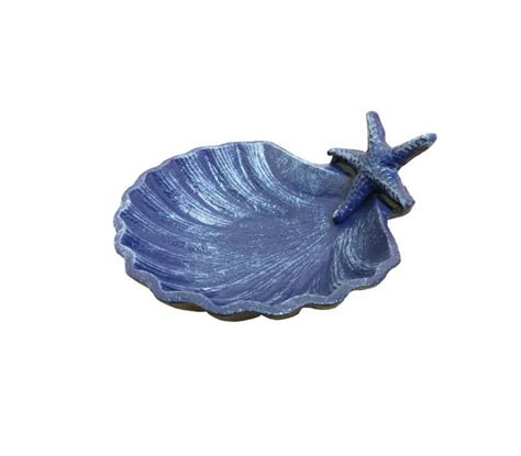 beach home decor wholesale rustic dark blue cast iron shell with starfish decorative