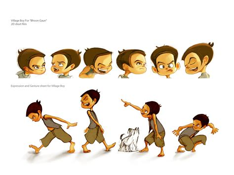 animation layout and design village kid character for 2d short film bhoot gaun