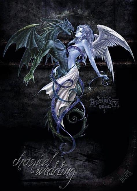 extreme fantasy tattoo the dragon the angel chemical wedding my husband