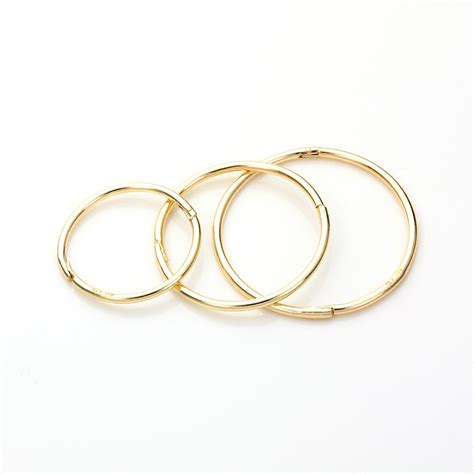 9ct yellow gold plain patterned hinged hoop sleeper