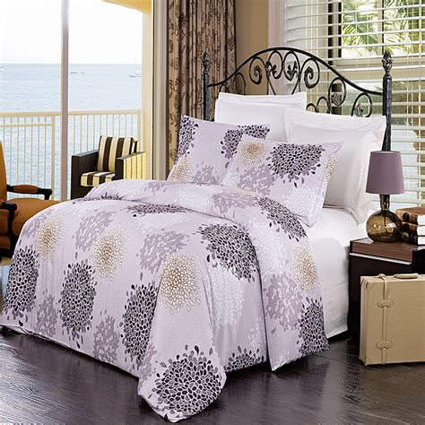 gold pattern bedding luxury lilac purple ivory gold printed pattern microfiber