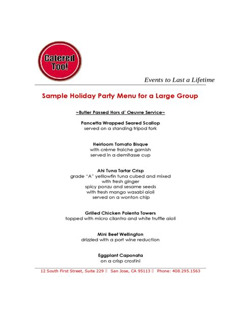 sle holiday party menu for a large group free download