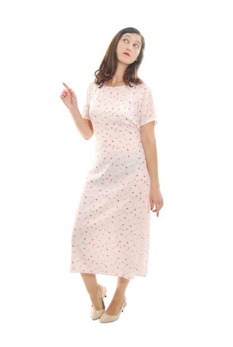 light pink floral print vintage dress  women