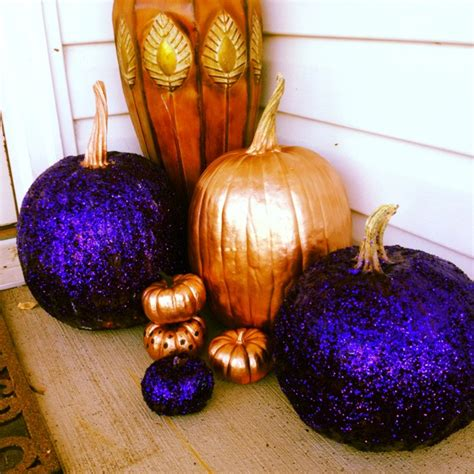 spray painting pumpkins glitter and spray painted pumpkins decorating