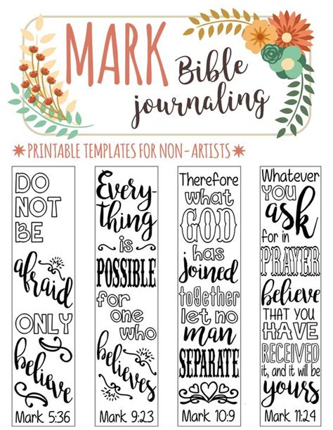 mark 4 bible journaling printable templates illustrated