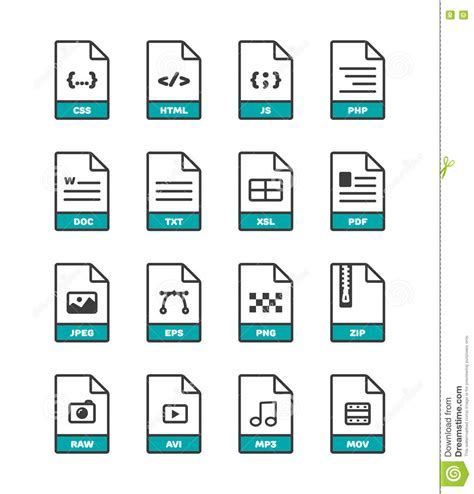format file image linear thin vector file format icons collection on white