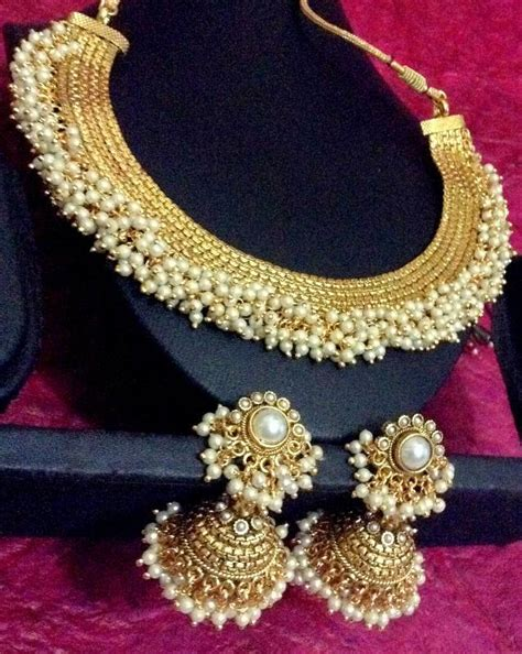 buy indian jewelry online latest indian fashion bridal buy south indian style chandni pearls golden adiva copper