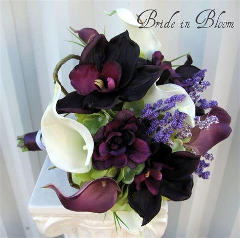wedding bouquet plum calla orchid silk bridal bouquet