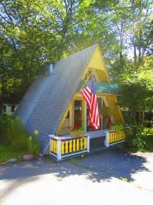 A Frame Cottage Relaxshacks A Tiny Yellow A Frame Cabin Cottage In Maine