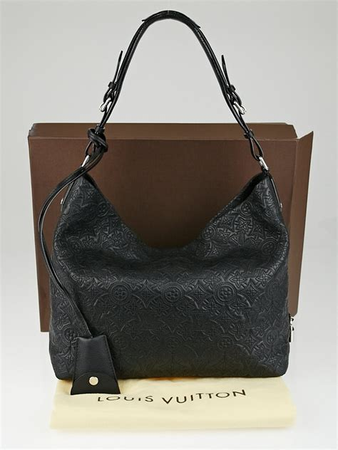 louis vuitton black monogram antheia leather hobo pm bag