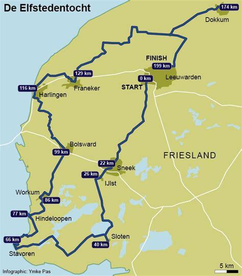 netherlands friesland map kaart map elfstedentocht friesland nederland
