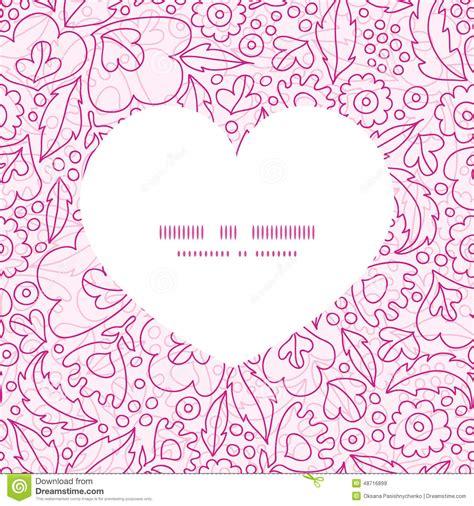 heart pattern frame vector pink flowers lineart heart silhouette stock vector