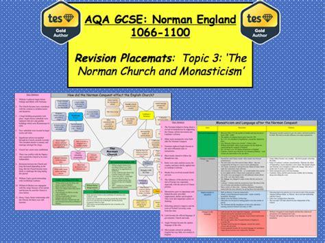 aqa gcse history norman aqa gcse norman england 1066 1100 revision placemats topic 3 by matthew nolan teaching