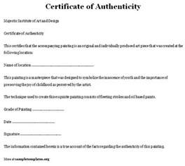 Certification Letter Authenticity certificate of authenticity template of certificate of authenticity