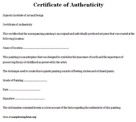 certificate of authenticity template of certificate of