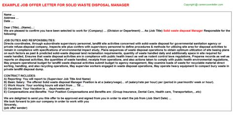 Letter For Garbage Disposal Waste Disposal Attendant Offer Letters