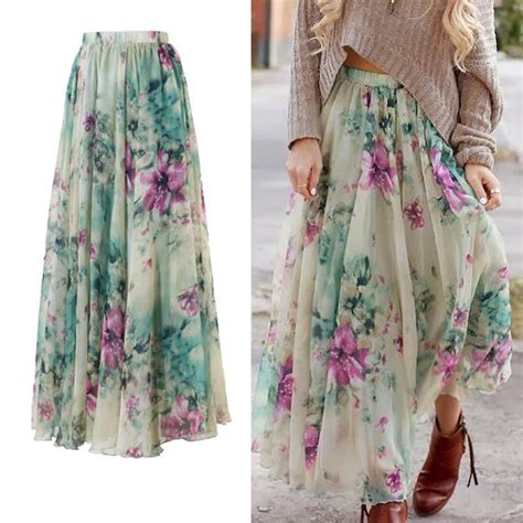 fashion new maxi skirt 2017 summer chiffon