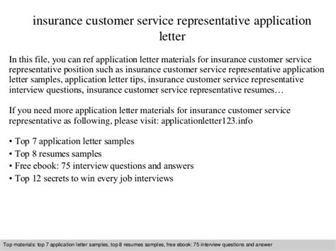 application letter representative insurance customer service representative application letter