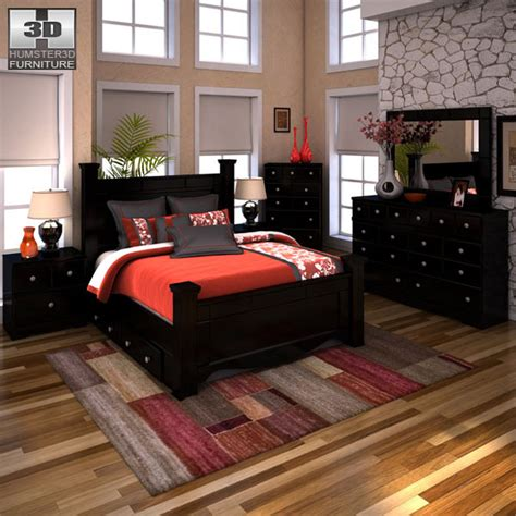 shay queen poster bed ashley shay poster bedroom set 3d model hum3d