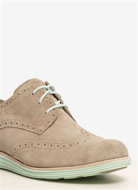 cole haan lunargrand suede wingtip shoes in gray grey lyst