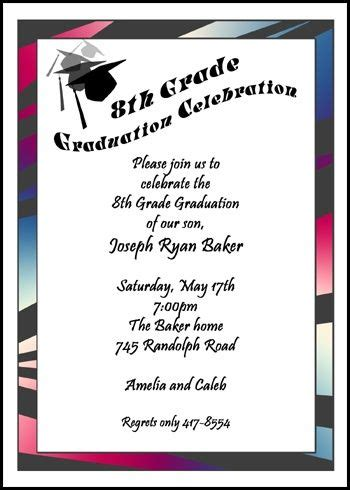 Exclusive Graduate Caps And Tassels Announcements And Invitations For Eighth Grade Grads To Be Middle School Graduation Program Template