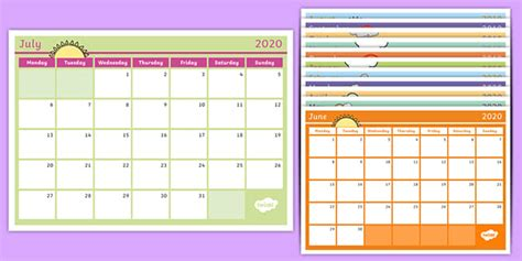 academic year monthly calendar planner