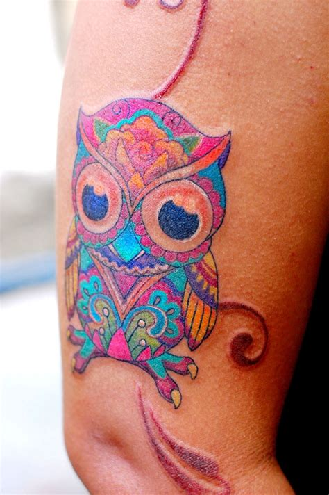 owl tattoo colorful my works pinterest so cute so
