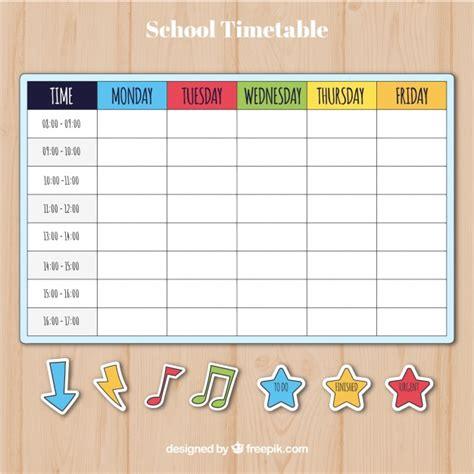 timetable outline template colorful school timetable template vector free