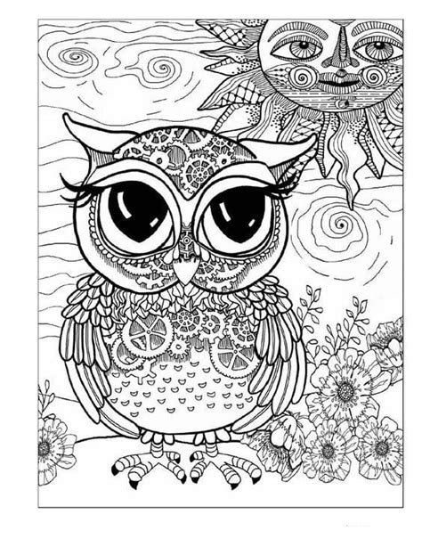 Antistress owl Coloring Pages to download and print for free
