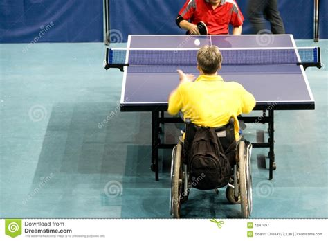 the table for disabled wheel chair table tennis for disabled persons royalty free